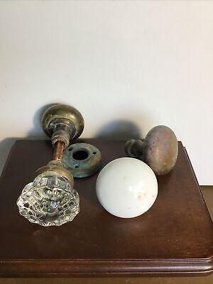 4 antique/vintage door knobs: 1 glass knobs, 2 brass knobs, 1 Porcelain 1spindle