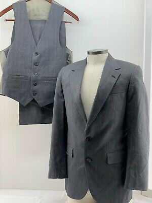 Vintage Men's 3 pc Suit Gray Pinstripe GATSBY Wedding Party Allyn St. George  - Gatsby Mens Suits