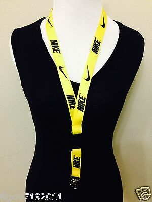 Nike Lanyard Detachable Keychain iPod Camera Strap Badge ID Running Cell Yellow