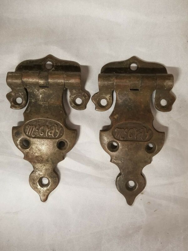 2 VTG ANTIQUE MCCRAY ICE BOX HINGES HEAVY DUTY CAST BRASS SIDE STRAP