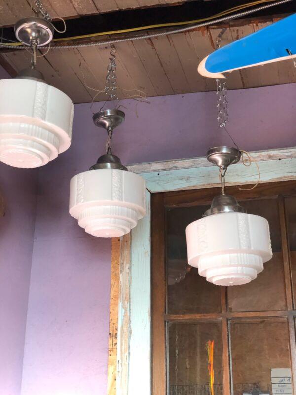 Antique Art Deco Pendant Light 3 Available