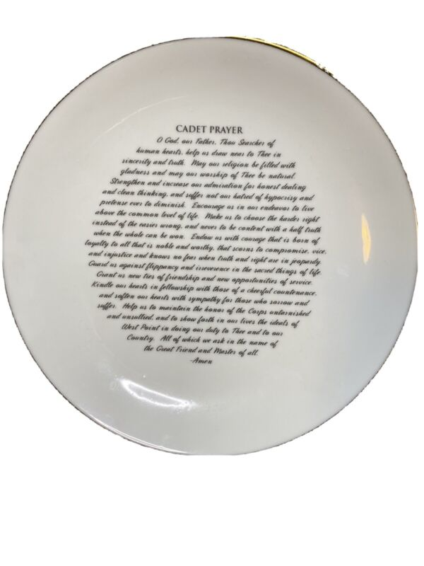 "NWT Army cadet Prayer 8"" Ceramic Plate West Point USMA"