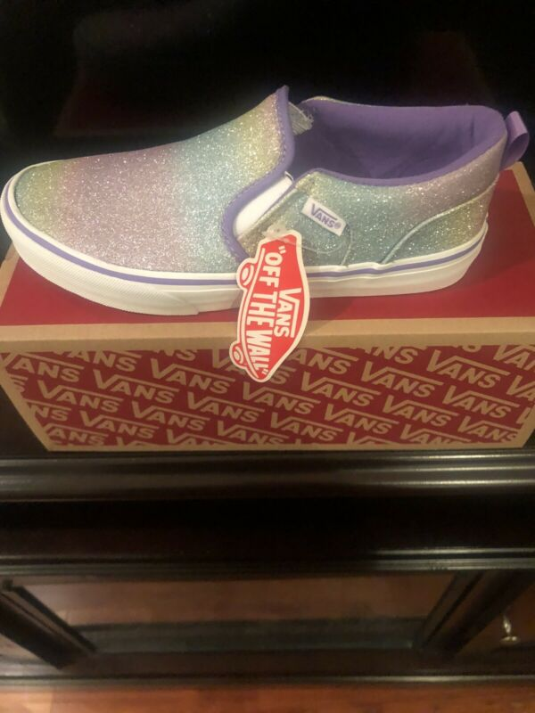 Girls Purple Rainbow Glitter Vans Size 4 Slip On Shoes