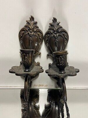 Victorian Design Style Brass Bronze Candlestick Candle Holders Wall Sconces