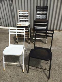 Vintage steel outdoor chairs x 14  Original stacking steel chairs
