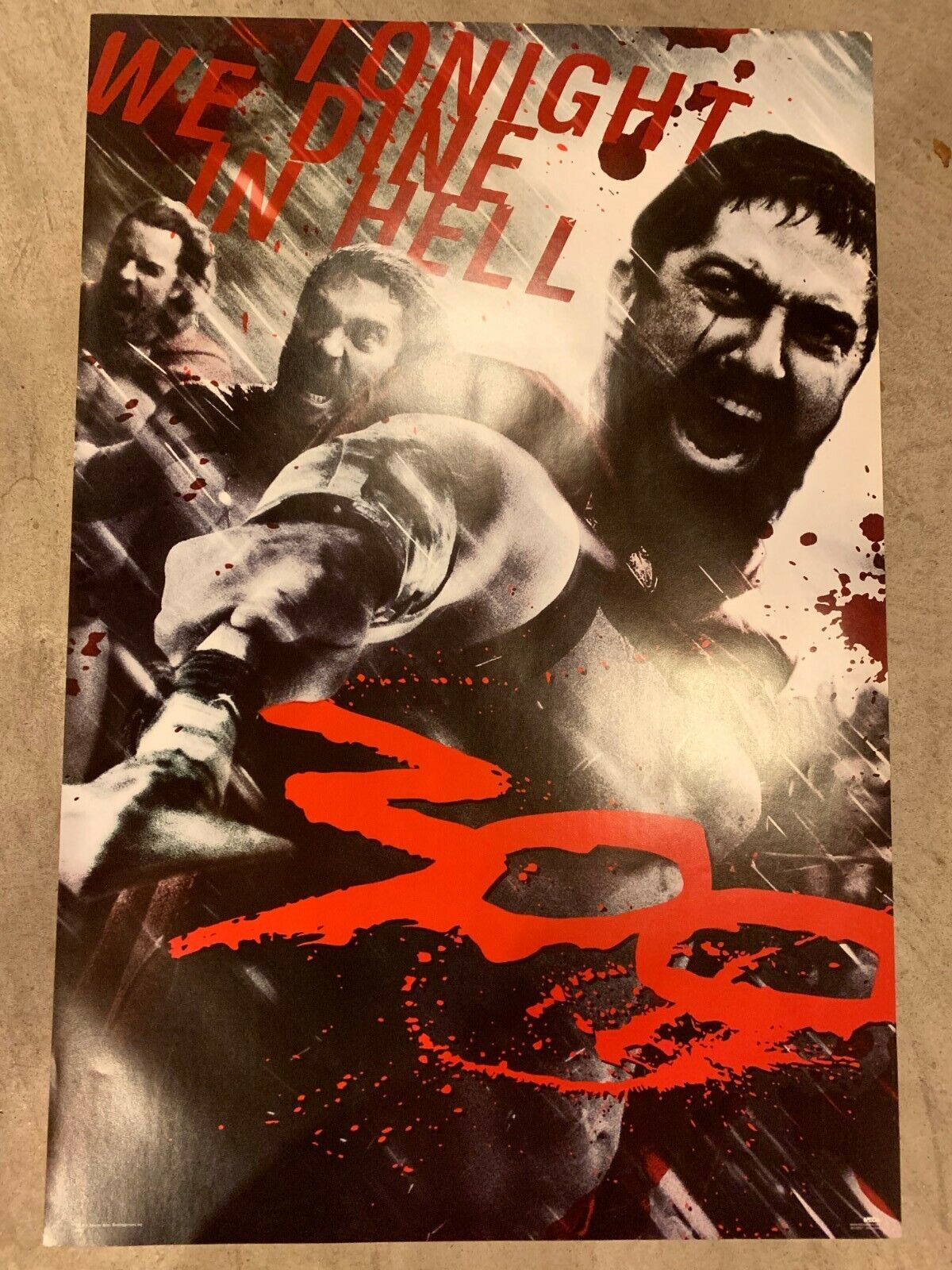 """300 movie poster- Spartans, """"Tonight We Dine in Hell"""" 24""""x36"""