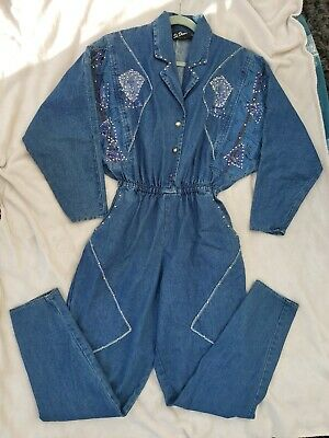 Denim Boilersuit Jumpsuit One Size 12/14/16 80's 90's Vintage Unusual