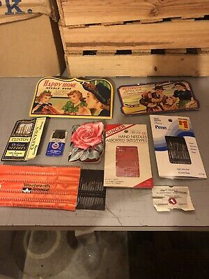 Large Lot Of Vintage Sewing Needles Advertising Happy Home Reliance Rose Clinton