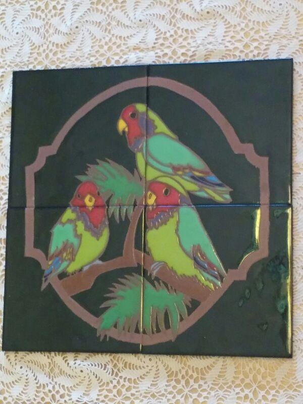 Parrots on black Mural Tile Art Ceramic HandPainted Craftsman Elaine Cain