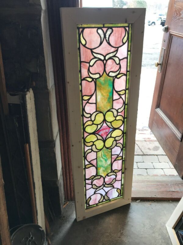 Sg 3060 antique stained glass transom window 17.5 x 53