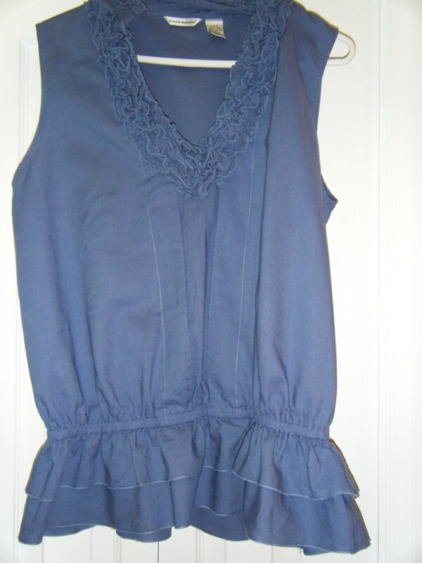 WOMENS RICHARD MALCOLM V NECK BLUE SLEEVELESS TOP WORN ONCE