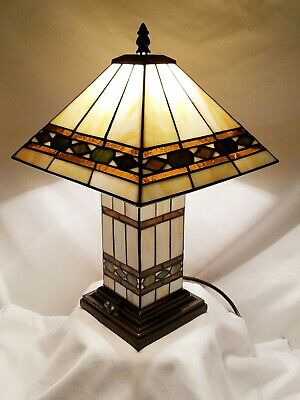 Tiffany Style Arts & Crafts Mission Style Wood Base Glass Shade Table -