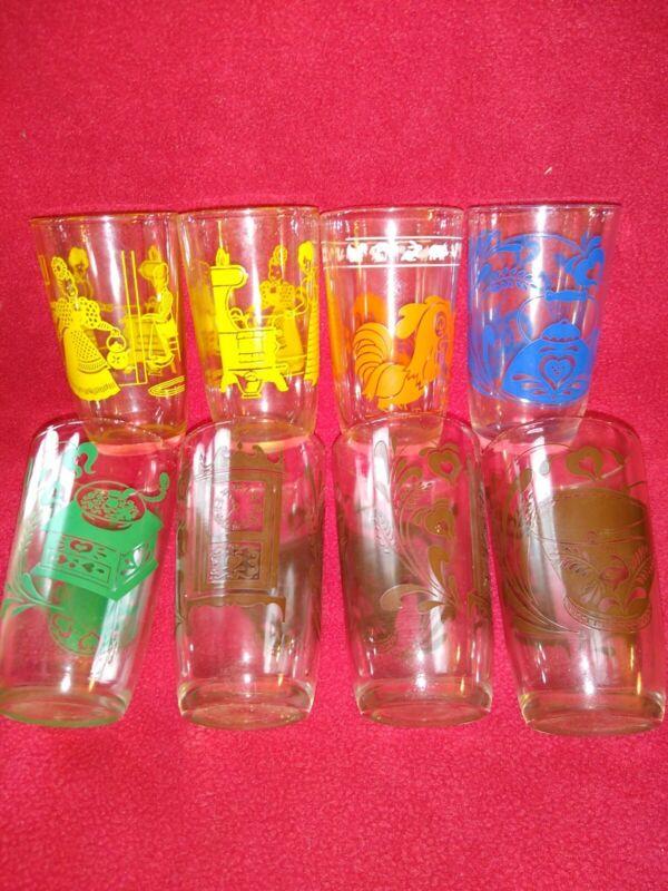 Lot Of 8 Assorted Designs Vintage Swanky Swig Drinking Juice Glasses