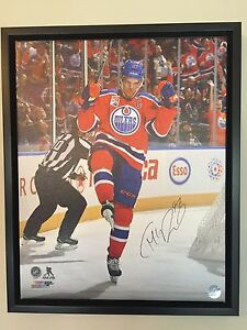 Connor McDavid signed 16 by 20 framed canvas