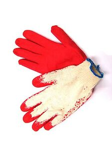 300 Pairs Red Latex Rubber Palm Coated Work Safety Gloves =Made in Korea=