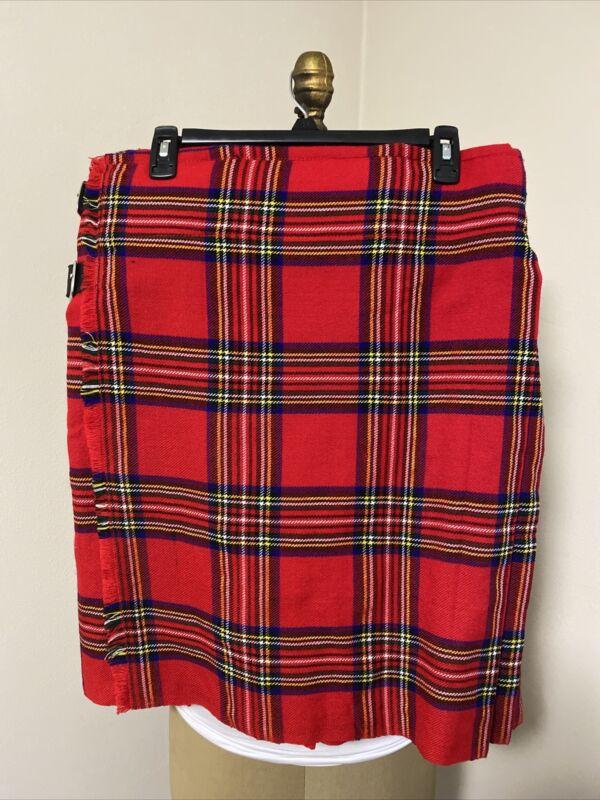 Mens Scottish Design Tartan Plaid Kilt Royal Stewart Straps, Fringe