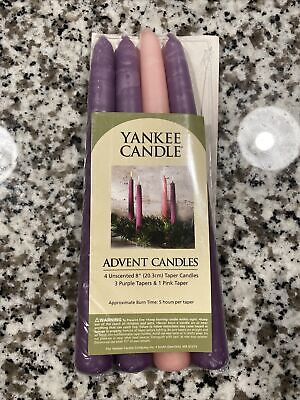 "Yankee Candle ADVENT TAPER CANDLES 8"" SET OF 4 UNSCENTED SMOKELESS DRIPLESS"