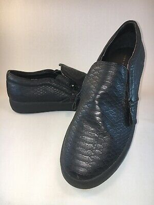 ZARA MAN Slip On Shoes Black Snakeskin Pattern Size 43 EU 0139