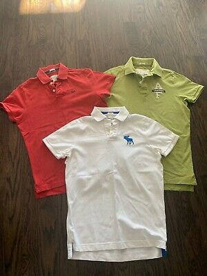 VINTAGE MEN'S ABERCROMBIE & FITCH MUSCLE FIT POLO SHIRTS (3) WHITE GREEN RED