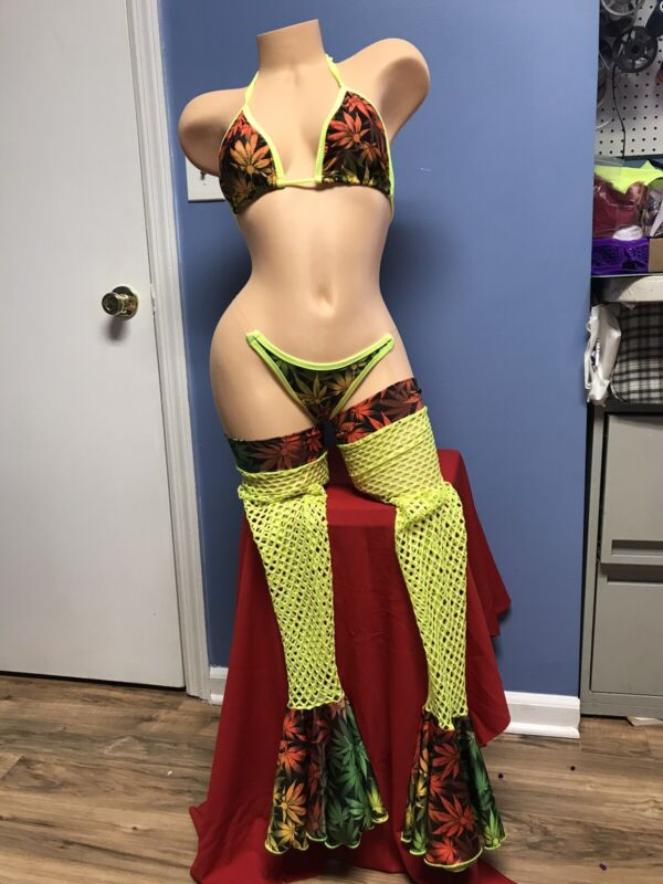 EXOTIC DANCEWEAR THONG OUTFIT GLOWS SIZE M read description SLING 4PIECE