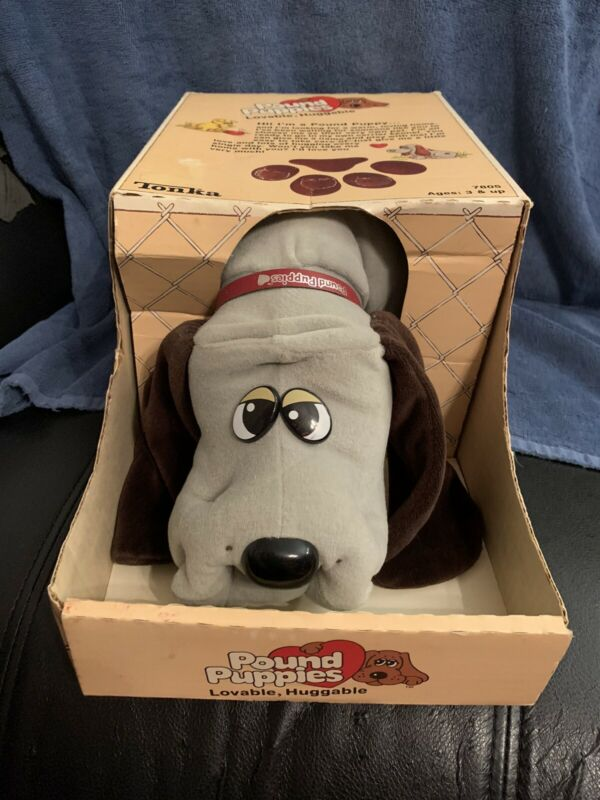 "1985 TONKA POUND PUPPIES 18"" Large Dog Grey BODY & Dark Brown Spots 7805 Used"