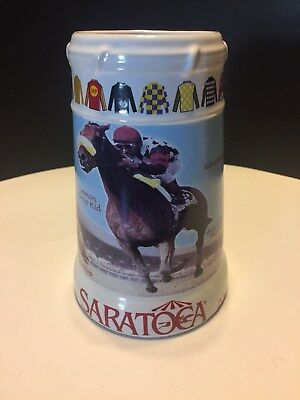 Saratoga Springs NYRA Horse Race Track Beer Mug Stein Glass 2000 Horses Racing