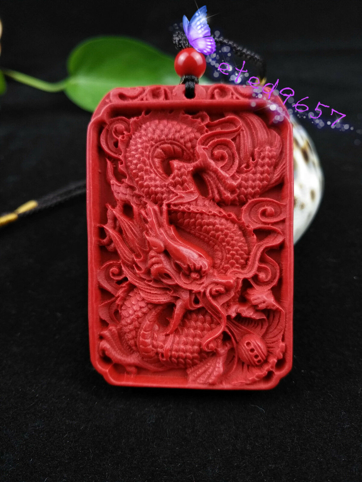 Chinese Natural Red Organic Cinnabar Dragon Necklace Pendant Lucky Amulet Hot RN