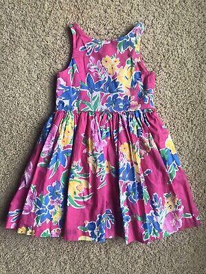 Gorgeous Flower Girl Dresses (GORGEOUS Girl Ralph Lauren POLO Sleeveless Dress PINK Yellow Flowers 5T)