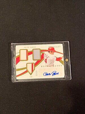 2019 Immaculate Baseball PETE ROSE EXTRA BASES 3 COLOR TRIPLE AUTO 12/25 Reds DK Extra Baseball Base