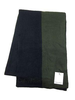 $140 CALVIN KLEIN Men BLACK GREEN UNISEX ACRYLIC WINTER SHAWL SCARF MUFFLER