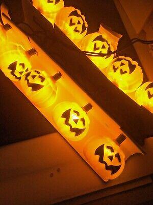 Vintage Halloween BLOW MOLD Pumpkin Jack O Lantern 10 Light Set New Original Box