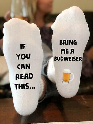 Budweiser Socks | Alcohol Socks | Gift for Him | Stocking Stuffer ()