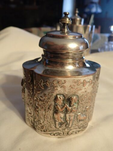 """Vintage silver plate silverplate Canister Box Repousse 5"""" x 3-5/8"""" hallmarks"""