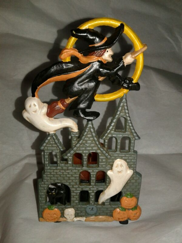 Cast Iron Witch Ghost House Tea Light Candle Holder Halloween