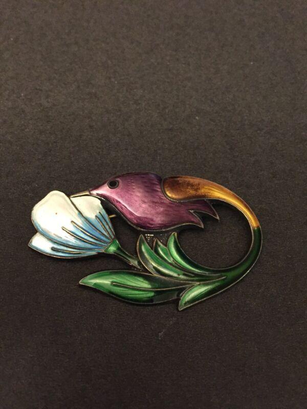 Vintage David Andersen Hummingbird Pin / Brooch - Guilloche Enamel Sterling 925