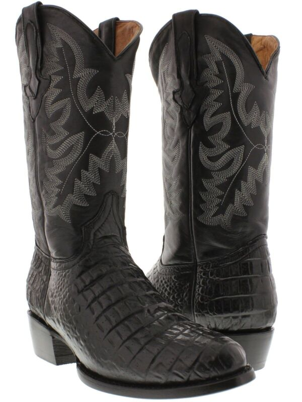 Mens, Black, Genuine, Leather, Exotic, Crocodile, Alligator, Belly, Cowboy, Boots