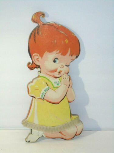 Vintage 1950s Pressed Cardboard Praying Girl Wall Hanging Nursery Decor