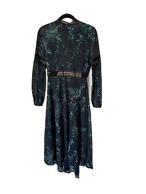 Women's Hope & Ivy Navy Blue Printed Backless Dress Size 10