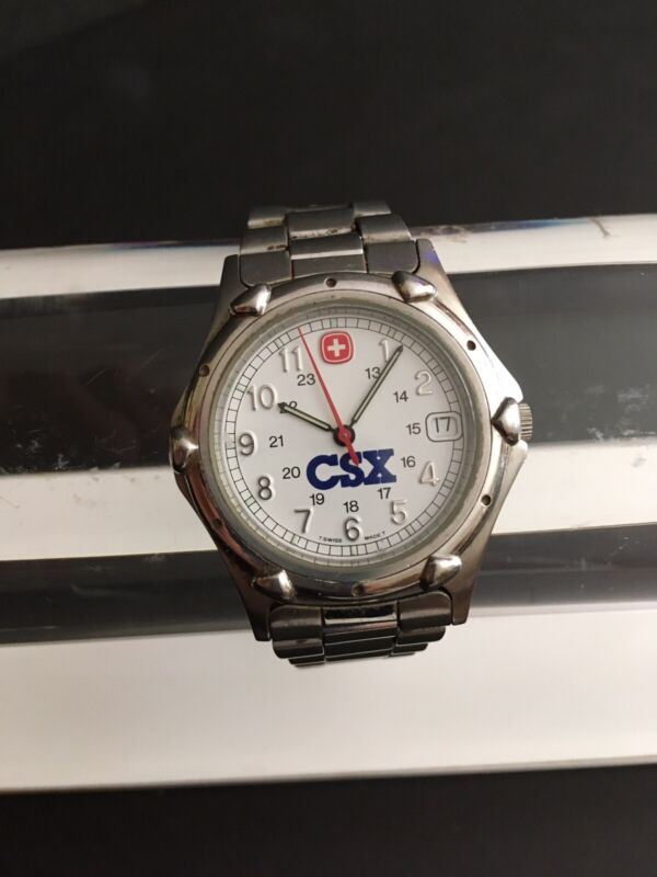 CSX RAILROAD MEN'S WENGER WATCH CHESSIE SYSTEM STAINLESS STEEL WATER RESISTANT