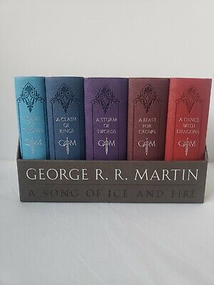 GAME OF THRONES George RR Martin LEATHER BOUND BOX SET Books 1-5 Ice Fire + Ice