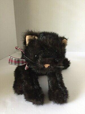 "VGUC-15"" Ty Beanie Baby Black Cat w/ Plaid Ribbon Bow"