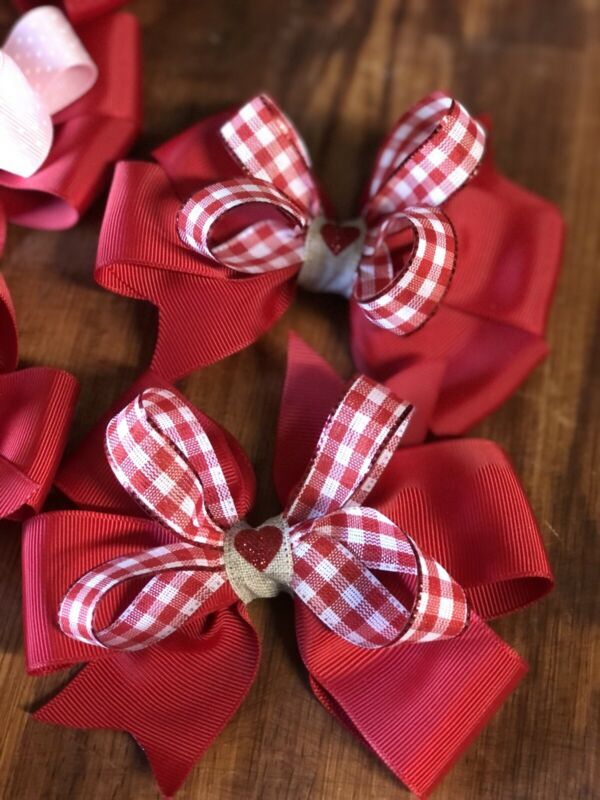 Valentine's Day Girls Hair Bow 🎀💕 Red Check Heart