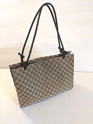 e5c746dd1fba64 Authentic Gucci GG Monogram Canvas Tote Handbag 109140 Canvas and Leather