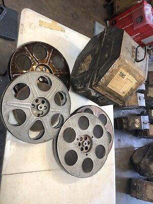 VINTAGE UNIVERSAL 35mm Theater 4 film Reel Case 1956 naked gun western movie