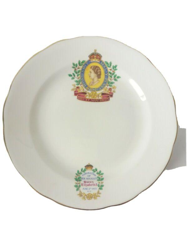 Queen Elizabeth Coronation Plate 1953 Radfords Bone China Vintage England Ivory