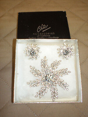 NEW Chic Accessories Silver Floral Brooch Pin & Clip-on Earrings Set - Costume
