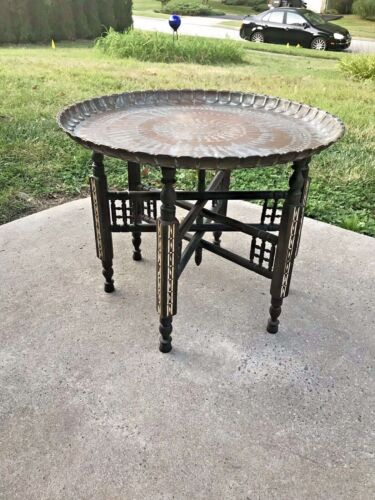 Vintage Moroccan Engraved Copper Tray Table + Carved Folding Wooden Stand Inlay
