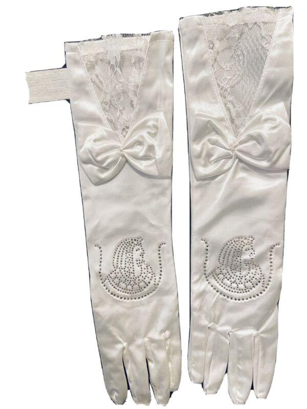 DOI Ladies Auxiliary Eastern Star OES Satin Elbow Length gloves