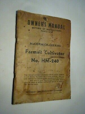 Vintage Mccormick Deering Farmall Cultivator Hm 240 Owners Manual