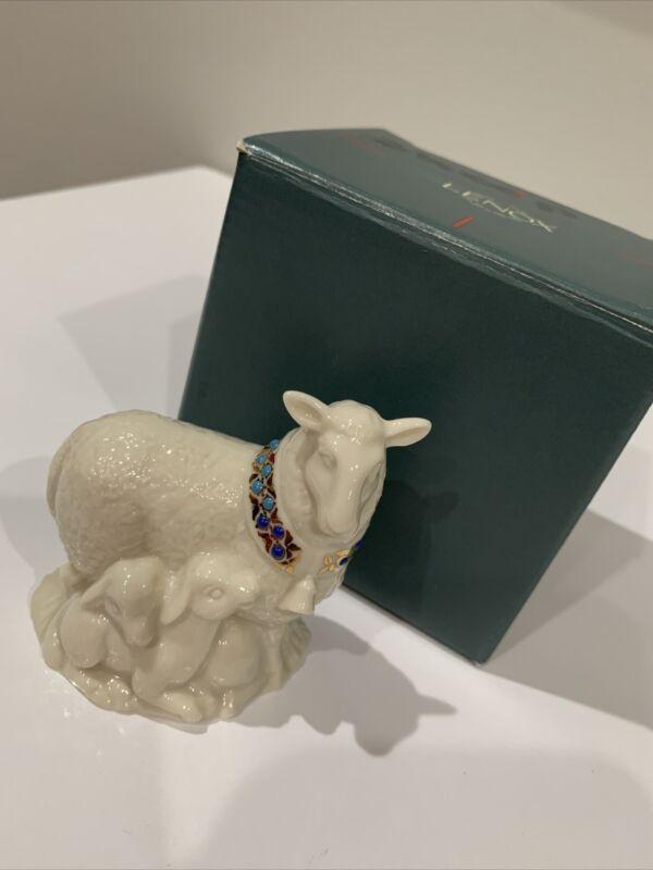 "Lenox China Jewels Nativity Sheep Figurine w/Box -- 3"""